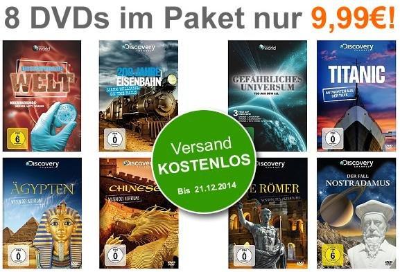 8er DVD-Paket - 8 Discovery Dokumentationen für 9,99 EUR @terrashop