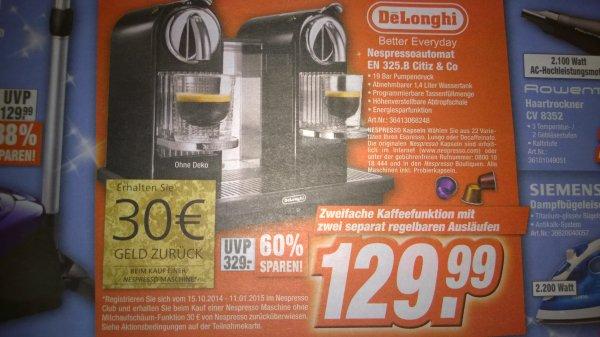 DeLonghi EN 325 B Nespressosystem Citiz  bei Total in Bielefeld für 129,99 plus 30€ Cashback