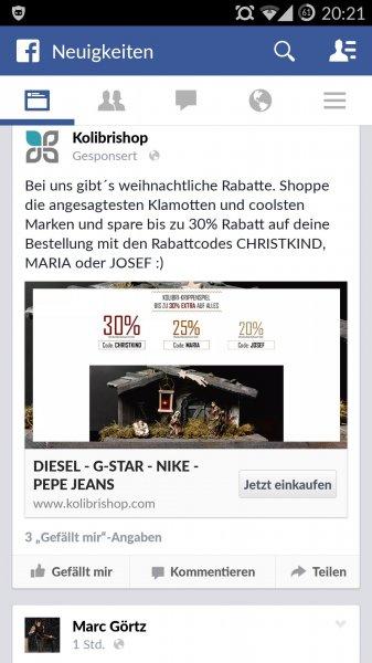 30% 25% und 20% im kolibri Shop mit MBW
