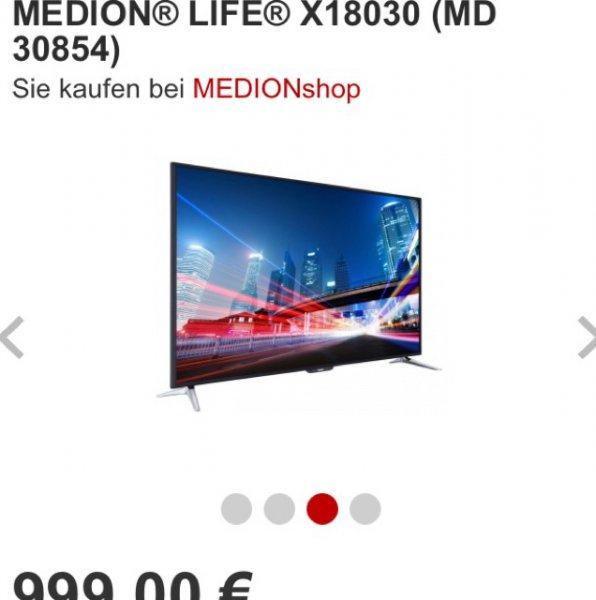 "MEDION 163,8 cm (65"") Smart-TV MEDION® LIFE® X18030 (MD 30854), 999€ (19980 Superpunkte)"