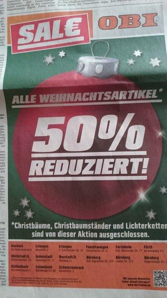 50% auf Weihnachtsartikel* bei OBI in Franken