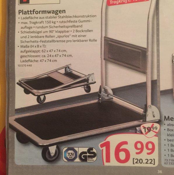 Plattformwagen bis 150 Kg für 20,22 Euro bei Selgros Gummersbach. Evtl. NRW oder Bundesweit? Idealo 24,99 Euro + 3,90 Versand