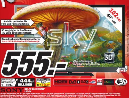 "Media Markt Heide: Sony KDL-40EX720 für 555€ - 40"" 3D-LED, DVB-T/C, 200Hz, USB-Rec, LAN!"