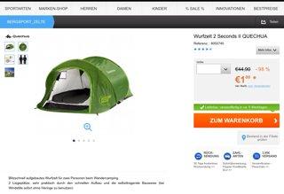 Zelt für 1€ + 3,95€ VSK