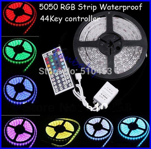 [Aliexpress] 5 m LED Strip 5050 IP 65 + 44 Tasten FB