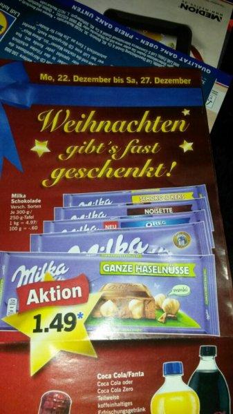 Milka Schokolade 300 g. (Lidl )