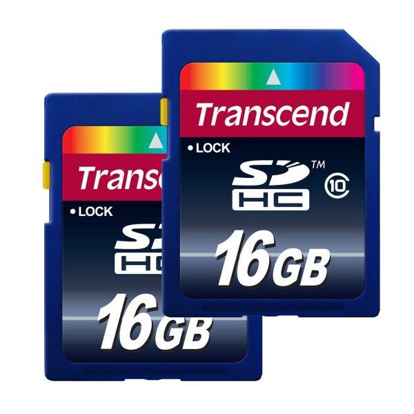 Transcend Class 10 Premium SDHC 16GB Speicherkarte (20MB/s Lesen, 2-er Pack) [Amazon Frustfreie Verpackung]