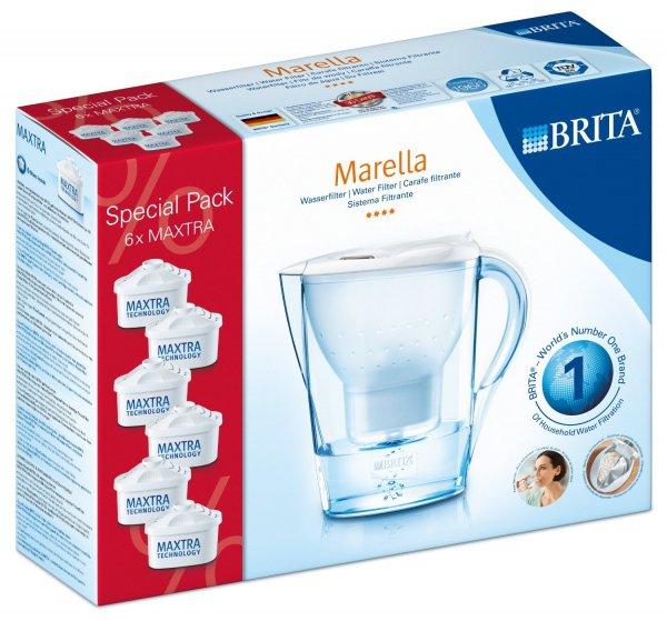 Brita 028114 Wasserfilter Halbjahrespaket Marella Cool weiß, inklusive 6 Kartuschen
