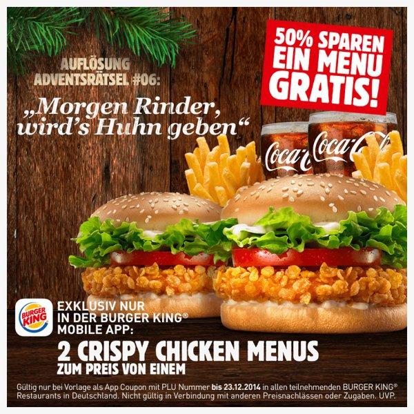 [Burger King] 2 x Crispy Chicken Menü zum Preis von einem!