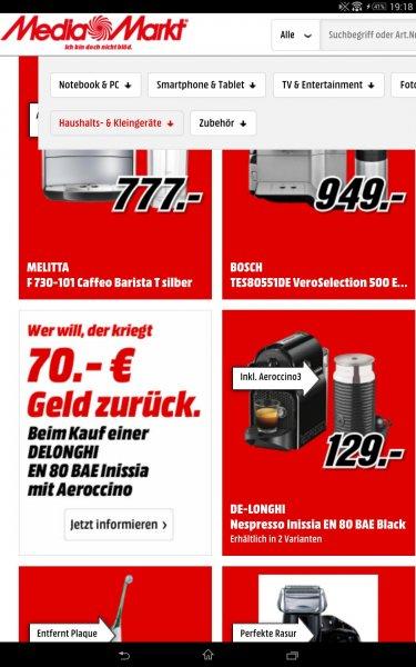 Online Media Markt DE-LONGHI Nespresso Inissia EN 80 BAE Black 129 Euro - 70euro casback