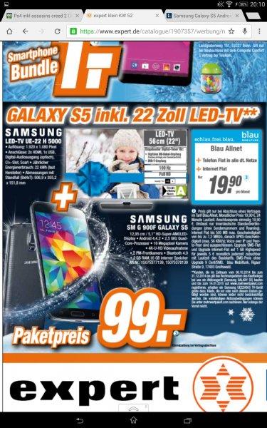 Expert Samsung Galaxy S5 + Samsung Led TV ue 22 h 5000 blau.de allnet /// theoretischer Gewinn + gratis blau.de allnet 24 monate