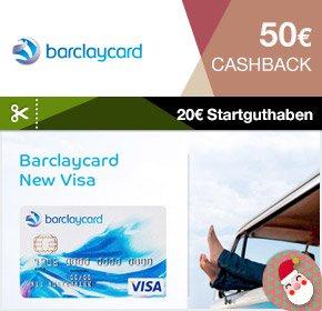 Barclaycard New Visa mit 20€ Startguthaben + 50€ Cashback Qipu dauerhaft beitragsfrei