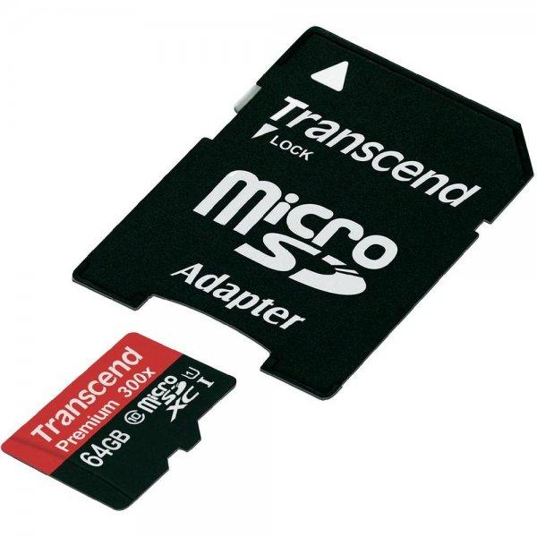 Transcend microSDXC-Karte 64 GB Class 10 Premium mit Adapter ab 24,99€@conrad