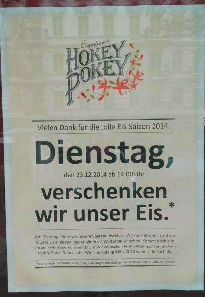 [Lokal - Berlin] Gratis Eis bei Hokey Pokey am 23.12.
