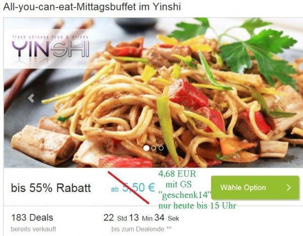 [lokal München-Schwabing] Nur noch bis 15 Uhr: all you can eat asiatisches Mittagsbuffet @ yinshi China-Restaurant + 1 Getränk für 1 Person für 4,68€ oder für 2 Personen 8,42€ via dailydeal