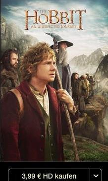 Der Hobbit - Eine unerwartete Reise (iTunes, 1080p) 3,99€