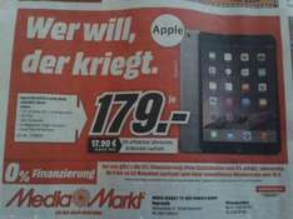 [Bayreuth] MediaMarkt: Apple Ipad Mini 16 GB Grau (MF432FD/A) für 179,- Euro