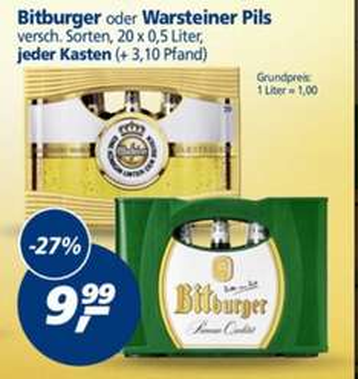 Kasten Warsteiner oder Bitburger im Real für 9,99 €, 20 x 0,5 Liter