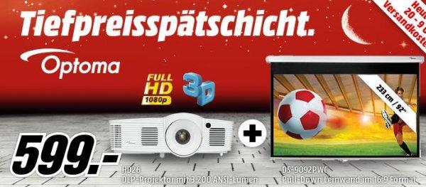 Optoma HD26 3D-Beamer + OPTOMA Pull Down Leinwand 16:9 für 599€