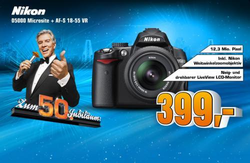 [SATURN] Nikon D5000 SLR-Digitalkamera (12 Megapixel, Live-View, HD-Videofunktion) Kit inkl. 18-55mm 1:3,5-5,6G VR