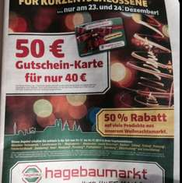 Hagebaumarkt München & Umgebung 50€ Gutscheinkarte für 40€