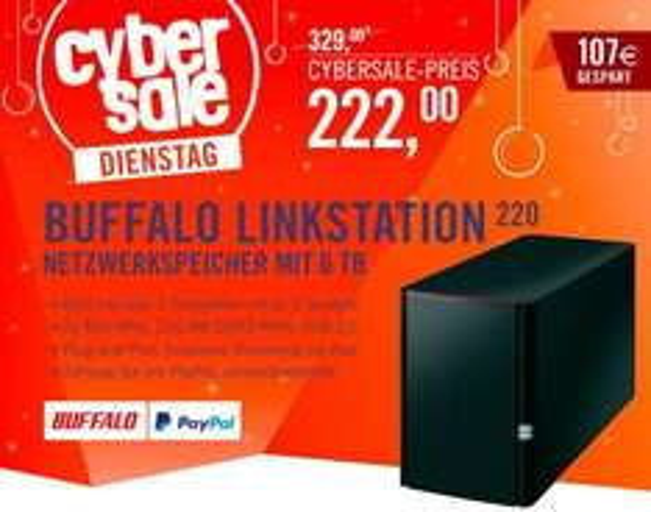 [Cyberport.de] Buffalo LinkStation 220 NAS 6TB (2x3TB) - Nächster Preis: 285 €