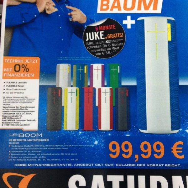 99,99€ UE Boom Bluetooth Lautsprecher  in verschiedenen Farben inkl. 6 Monate juke !!! Saturn Bremerhaven
