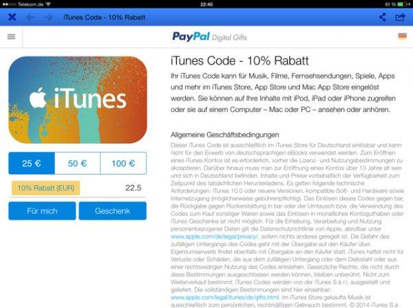 Paypal ITunes Guthaben 10% Rabatt