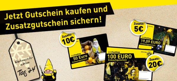 Gutschein im BVB Online Shop kaufen und bis 20€ Zusatz Gutschein erhalten.
