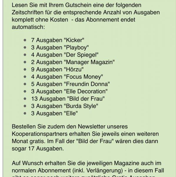 Eines von 10 Magazinen ( u.a. Focus, Spiegel) kostenlos und unverbindlich