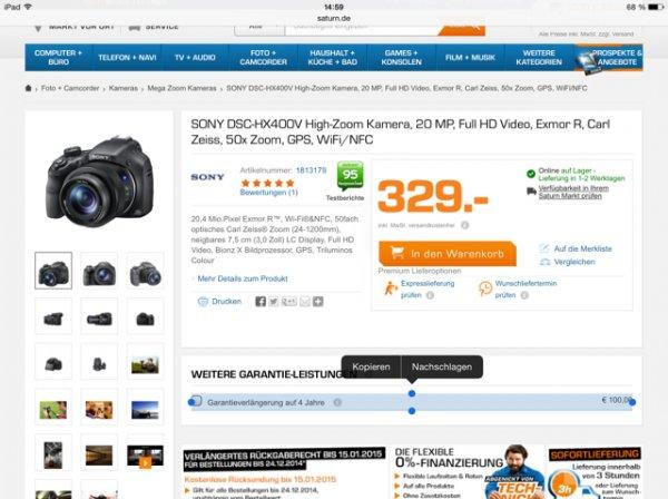 Sony DSC-HX400V Kamera @saturn