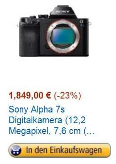 [Amazon Blitzangebot] Sony Alpha 7S für 1849€ / Idealo: 1999