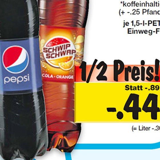 Pepsi Cola, Schwip-Schwap und Mirinda 1,5 l für günstige 44 Cent ab 2.1.2015 nicht bundesweit [Kaufland].