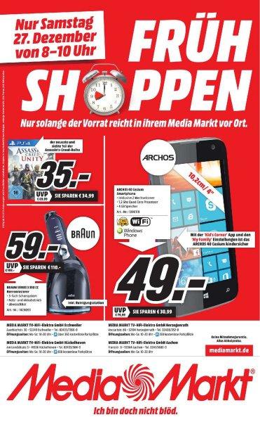[LOKAL] Media Markt Frühshoppen am 27.12.14: Assassin's Creed: Unity (PS4) für 35€, Archos 40 Cesium für 49€, Braun 350cc Series 3 für 59€ [Aachen Herzogenrath Eschweiler Hückelhoven Mönchengladbach]