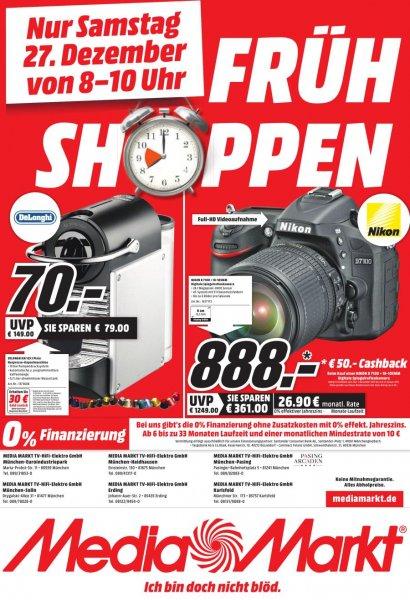 [LOKAL München, Erding, Karlsfeld] Media Markt Frühshoppen am 27.12.14 von 8-10 Uhr: DeLonghi EN 125 S Pixie für 70 € (- nochmals 30 € Cashback von Nespresso)
