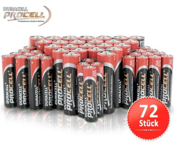 72 Duracell Procell Batterien AA und/oderAAA (Pakete frei wählbar) für 24,95€ + VSK @ 1dayfly