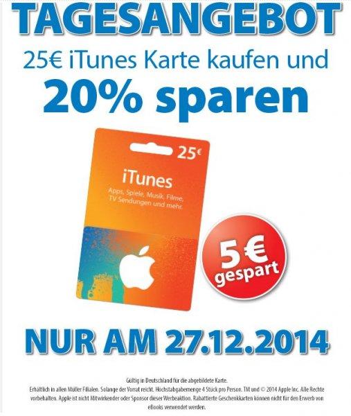 [Müller] Auch in Müller-Filialen - 20% Rabatt auf 25€ iTunes Karten