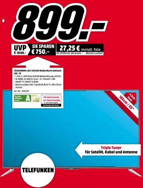 """[Lokal] MediaMarkt Siegen: Früh Shoppen (8-10Uhr): Telefunken L65F243R3C 65"""" LED Fernseher für 899 EUR"""