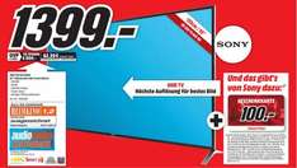 [Lokal] Media Markt Worms - Sony KD-55X8505 55 Zoll 4K 3D Fernseher - 1399 Euro + 100 Euro Geschenkkarte