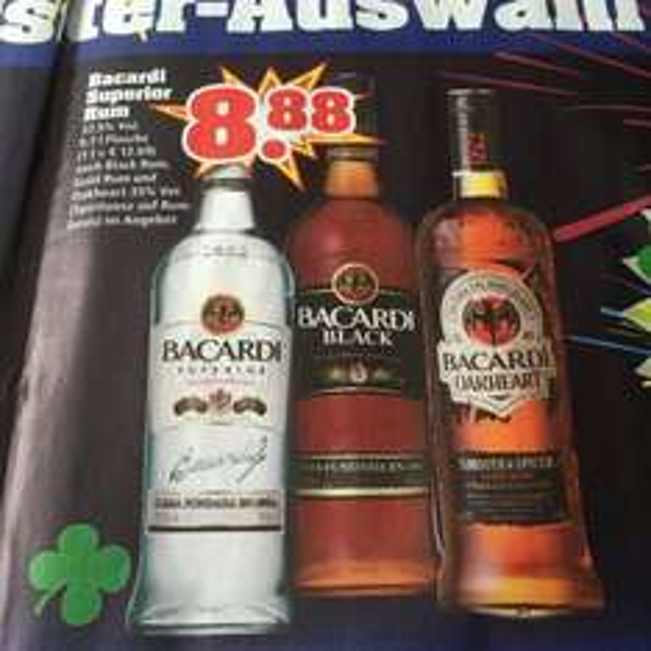 8,88€ Bacardi Superior Rum, Black Rum oder Oakheart  0,7 l [Trinkgut]