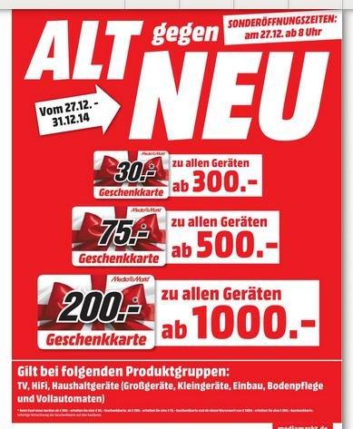 [Rostock] MediaMarkt Geschenkkarte für Kauf mit sofortiger Verrechnung