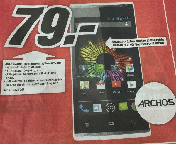 "[Lokal MM Lichtenfels] Archos 40b Titanium (Android 4.2.2, Dual-SIM, 4"", 4GB) für 79,-"