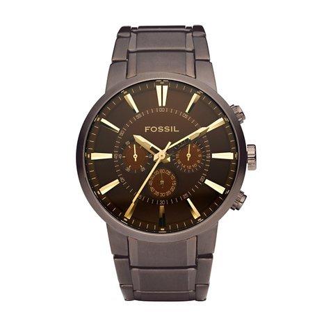 Fossil Herren-Armbanduhr Analog Edelstahl braun Quarz FS4357 bei Amazon