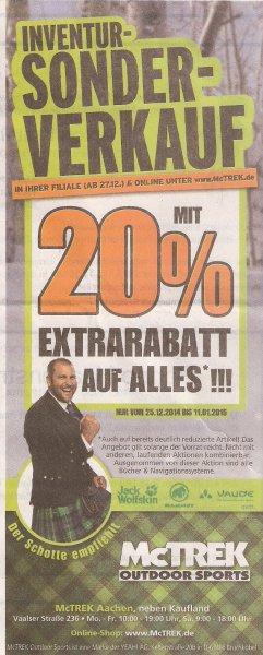 Lokal (Aachen) und online: 20% auf alles bei McTrek