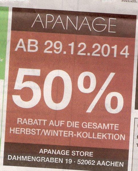 Lokal (Aachen): Bei Apanage gibt es 50% auf die gesamte Herbst/Winter-Kollektion