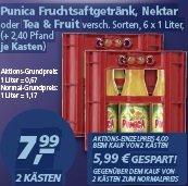 Punica 1 Liter Glasflaschen 2 Kästen 7,99 € + Pfand, real, Vergleichspreis: 13,98 €