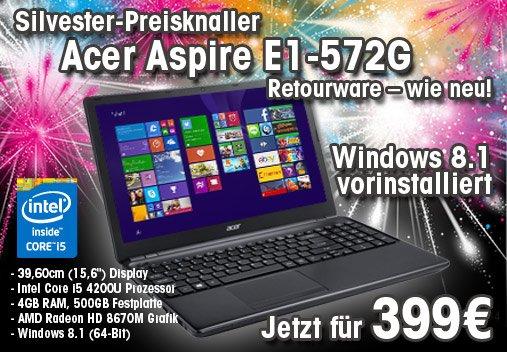 Acer Aspire E1-572G-54204G50Dnkk mit Intel Core i5 für 399€ bei [ARLT]