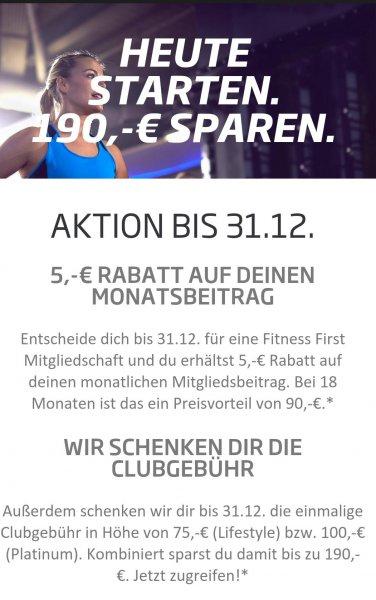 Fittness First 5 euro monatlich weniger zahlen + 190 euro