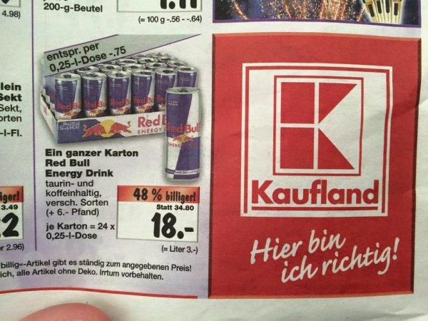 [Kaufland] Red Bull Tray für 18,- entspricht 0,75€ pro Dose