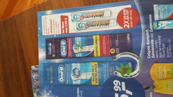 Oral-B Tiefen-Reinigung 5er od. Precision Clean 6er für € 12,99 mit 2x gratis Zahnpasta nach P&G Gutschein, evtl. € 9,99 nach Coupies??? und auf jeden Fall 2x blend-a-med gratis und vielleicht mehr... bei real